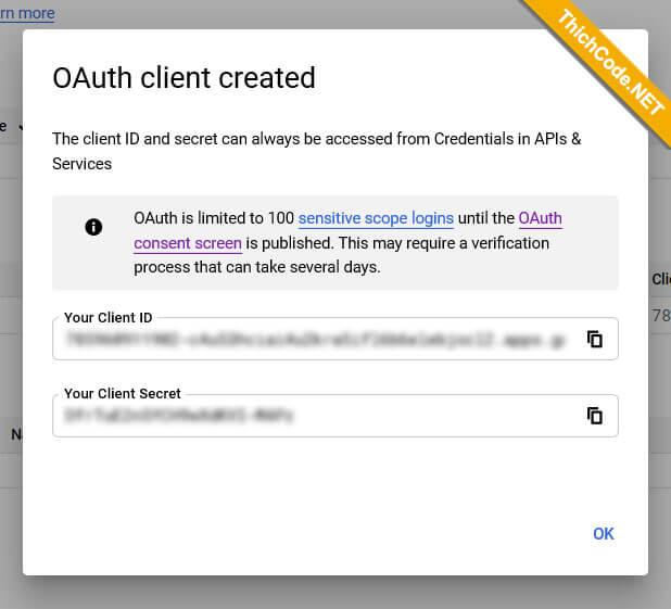 Client ID và Client Secret